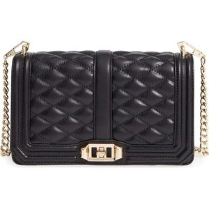 Rebecca Minkoff Love Crossbody Black Quilted Gold